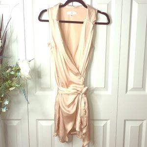 Satin cute wrap dress